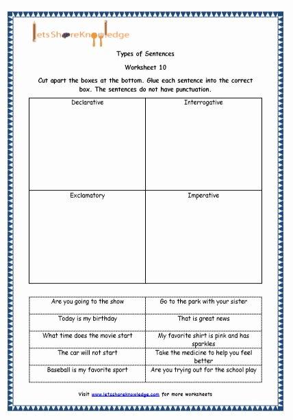 Four Types Of Sentences Worksheet Luxury Grade 4 English Resources Printable Worksheets topic 4