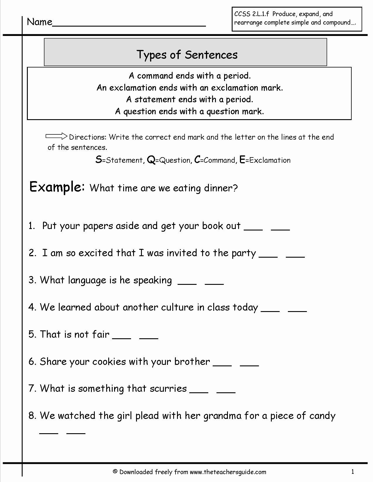 Four Types Of Sentences Worksheet Luxury Sentences Worksheets From the Teacher S Guide