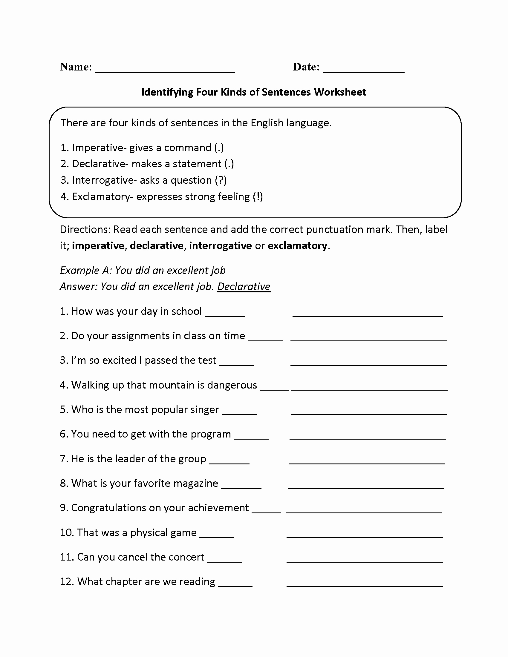 Four Types Of Sentences Worksheet New Practicing Four Kinds Of Sentences Worksheet
