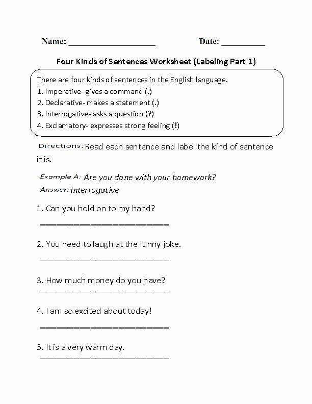Four Types Of Sentences Worksheet Unique 17 Best Ideas About Kinds Sentences On Pinterest