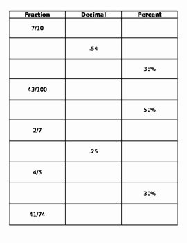 Fraction Decimal Percent Conversion Worksheet Awesome Fraction Decimal Percentage Conversion Worksheet by Miss