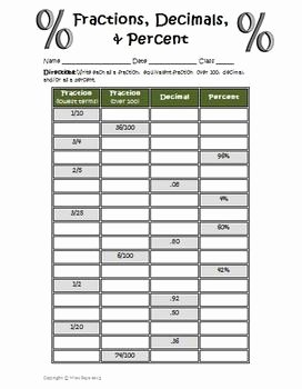 Fraction Decimal Percent Conversion Worksheet Awesome Fractions Decimals Percents Worksheet by Wise Guys