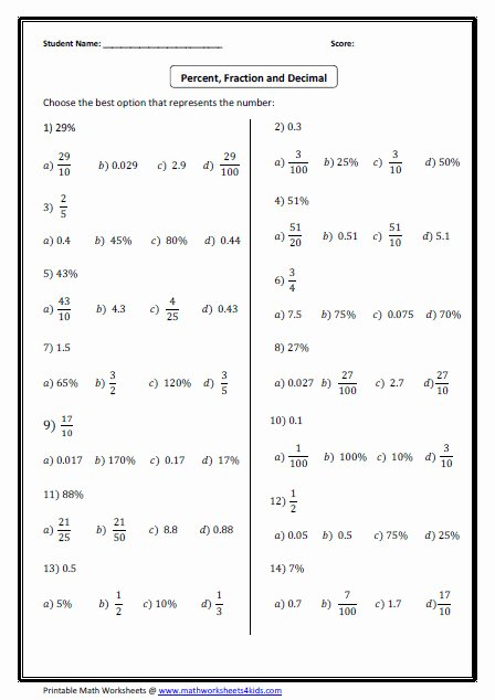 Fraction Decimal Percent Conversion Worksheet Beautiful Decimal to Fraction Worksheet