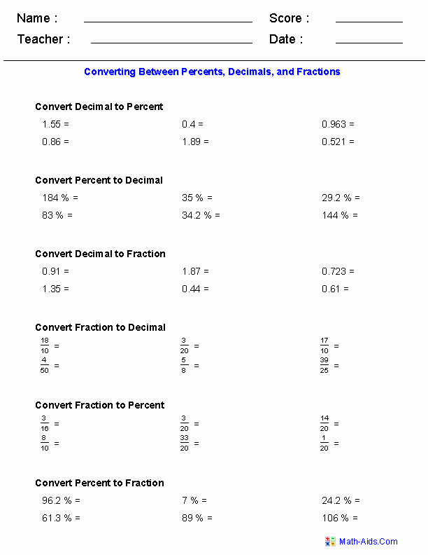Fraction Decimal Percent Conversion Worksheet New Converting Between Percents Decimals and Fractions