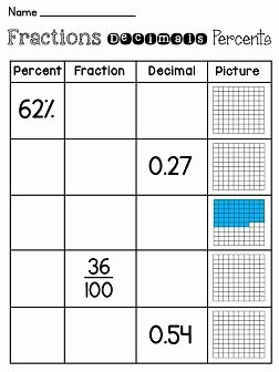 Fraction Decimal Percent Conversion Worksheet New Fractions Decimals Percents