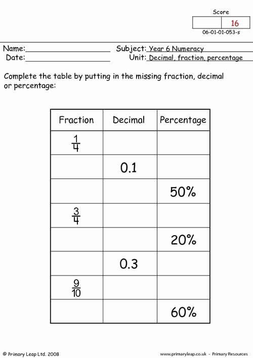 Fraction Decimal Percent Conversion Worksheet New Primaryleap Decimal Fraction and Percentage