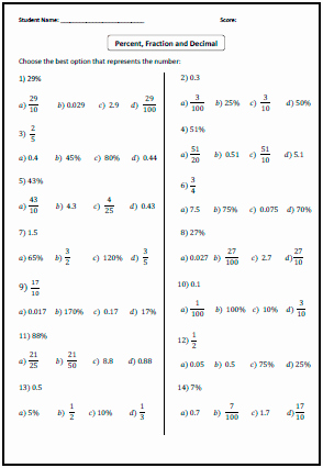 Fraction Decimal Percent Worksheet Pdf Awesome Fractions Decimals Percents Worksheets