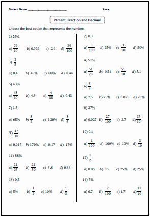 Fraction Decimal Percent Worksheet Pdf Awesome Fractions Decimals Percents Worksheets