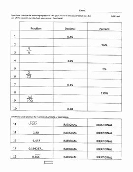 Fraction Decimal Percent Worksheet Pdf Best Of Converting Fractions Decimals & Percents Quiz 7 Ns 2