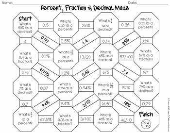 Fraction Decimal Percent Worksheet Pdf Best Of Percent Fraction and Decimal Maze by to the Square Inch