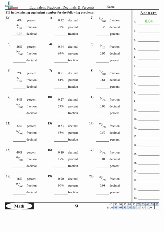 Fraction Decimal Percent Worksheet Pdf Elegant Equivalent Fractions Decimals & Percents Worksheet with