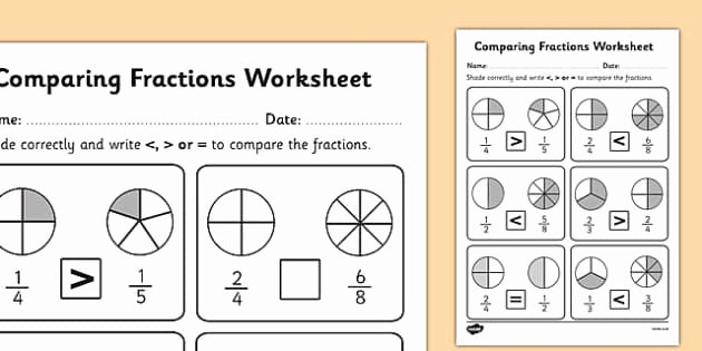 Fractions Greater Than 1 Worksheet Elegant Paring Fractions Worksheet Fractions Paring Fractions