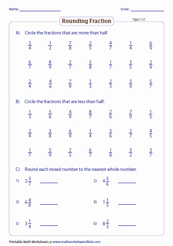 Fractions Greater Than 1 Worksheet Lovely Rounding Fractions Worksheets