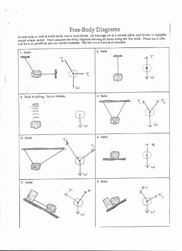Free Body Diagram Worksheet Answers Awesome Free Body Diagrams for Each Situation Draw A Free Body