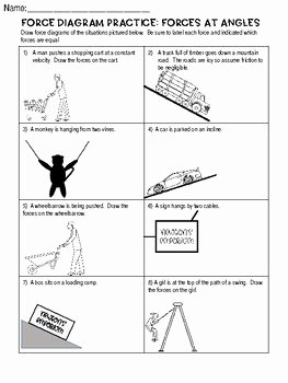 Free Body Diagram Worksheet Answers Best Of force Diagram Practice Worksheet forces at Angles Free