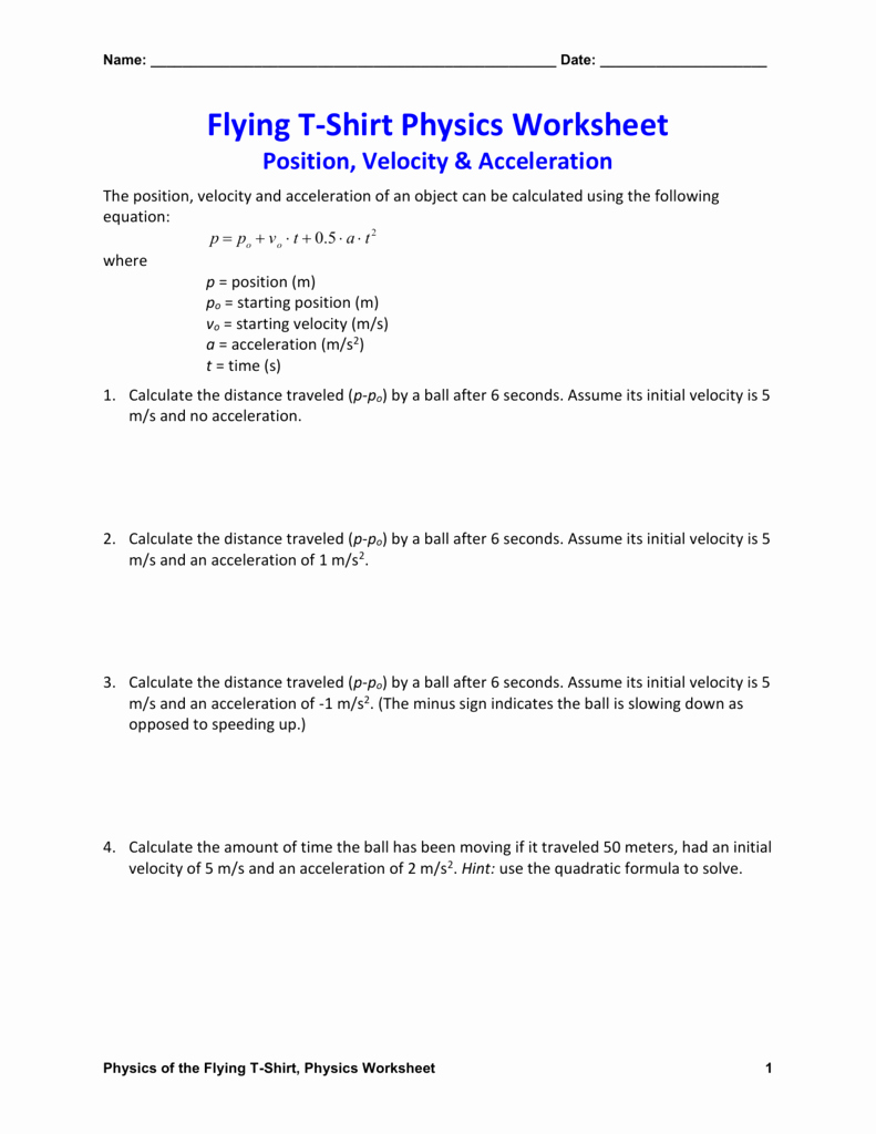 Free Fall Problems Worksheet Awesome Worksheets Displacement Velocity and Acceleration