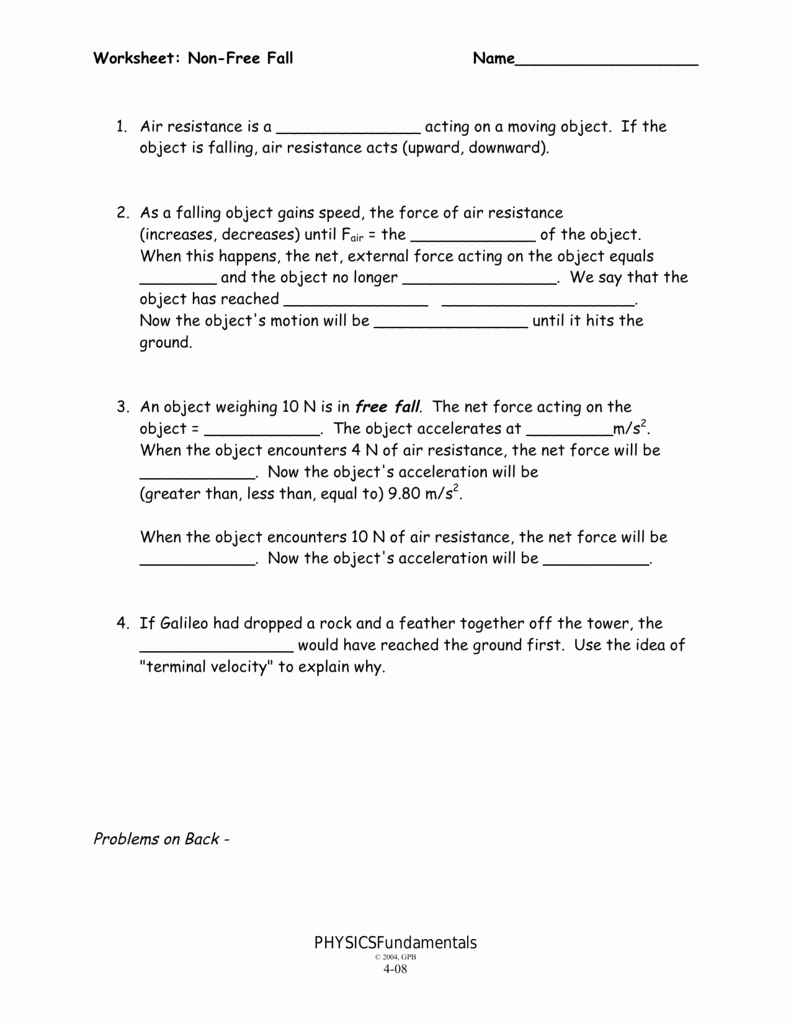 Free Fall Problems Worksheet Beautiful Non Free Fall Worksheet