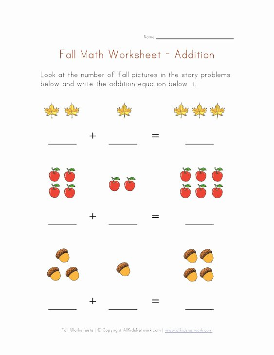 Free Fall Problems Worksheet Luxury Fall themed Math Worksheet Addition Equations