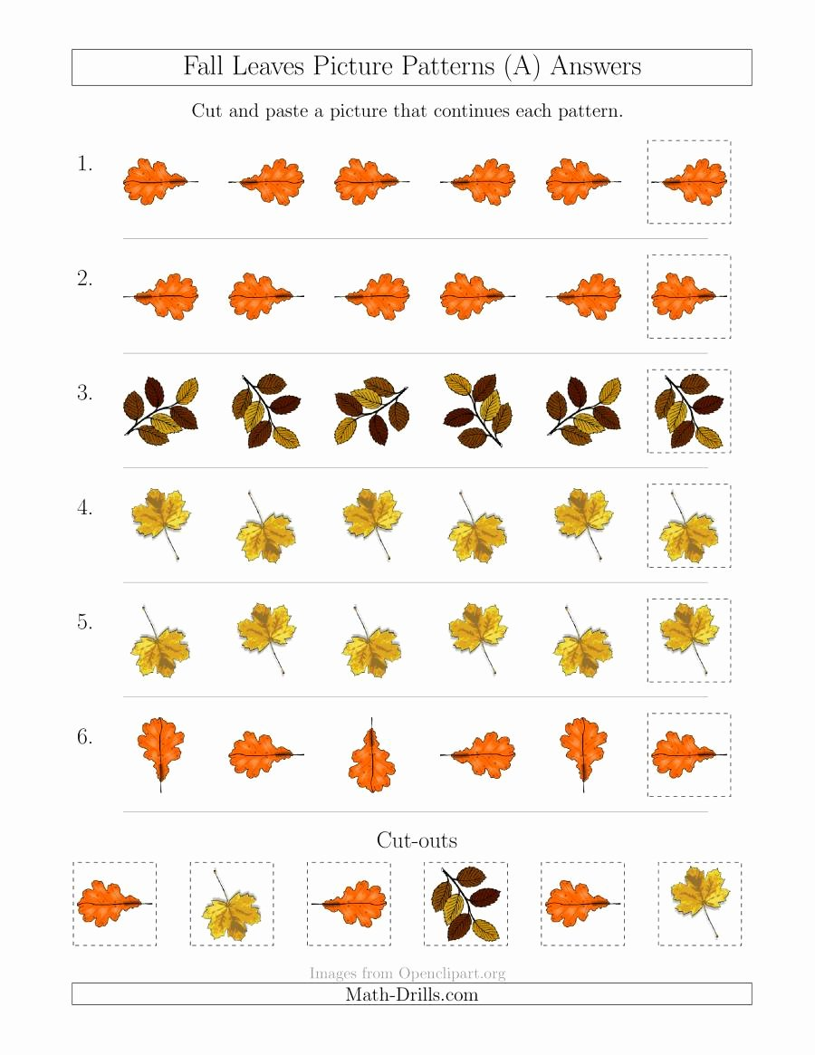 Free Fall Worksheet Answers Beautiful Fall Leaves Picture Patterns with Rotation attribute Ly A