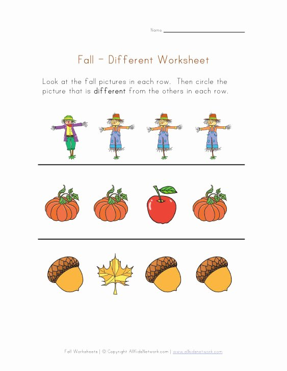Free Fall Worksheet Answers Best Of Autumn Worksheet Things that are Different