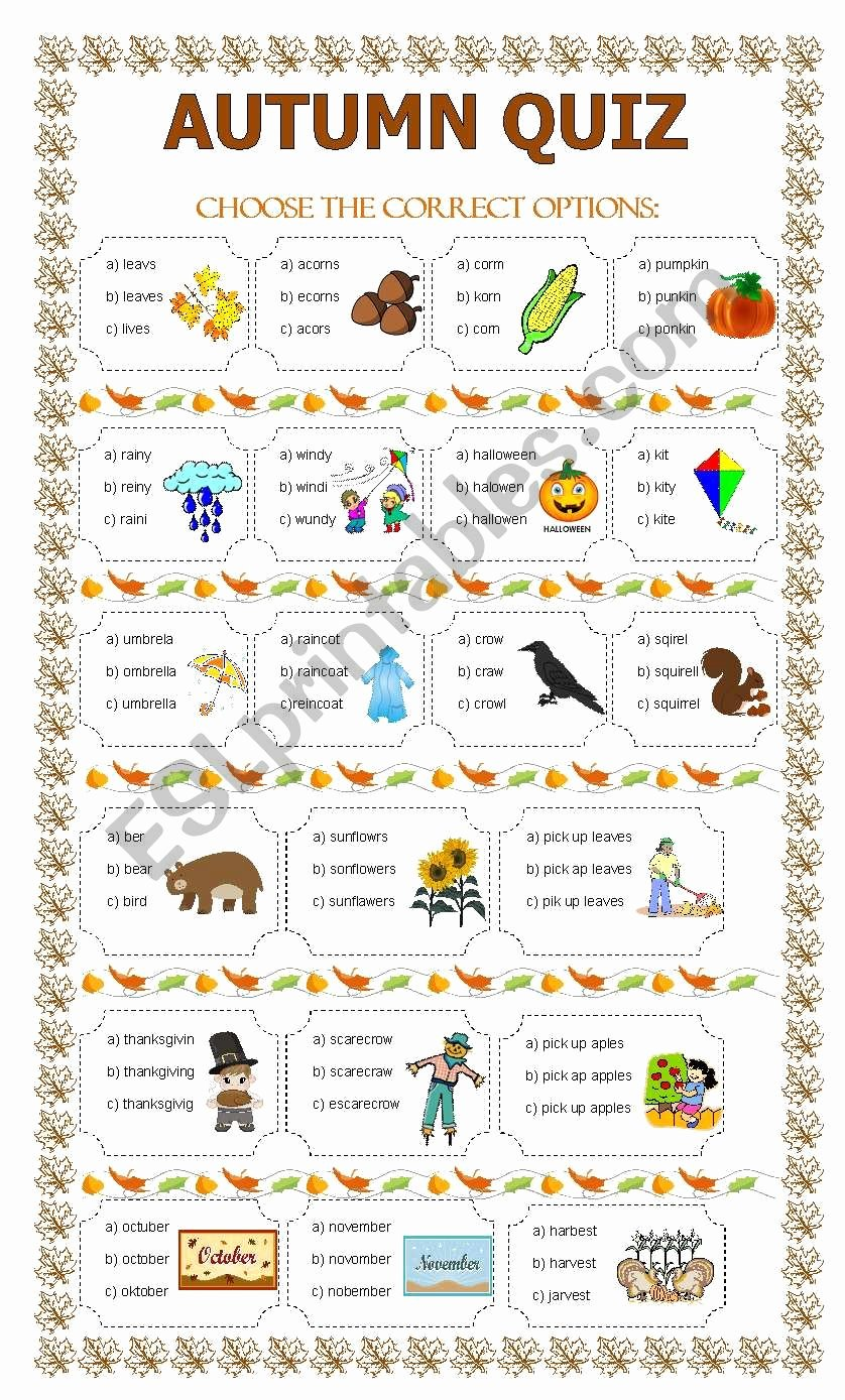 Free Fall Worksheet Answers Elegant Autumn Quiz Esl Worksheet by Lupiscasu