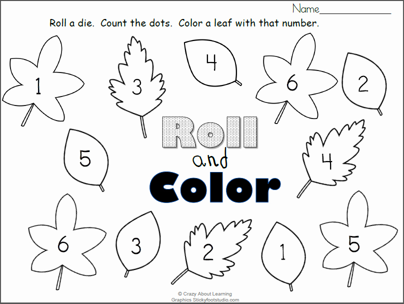 Free Fall Worksheet Answers Elegant Free Fall Leaves Roll and Color Numbers Worksheet