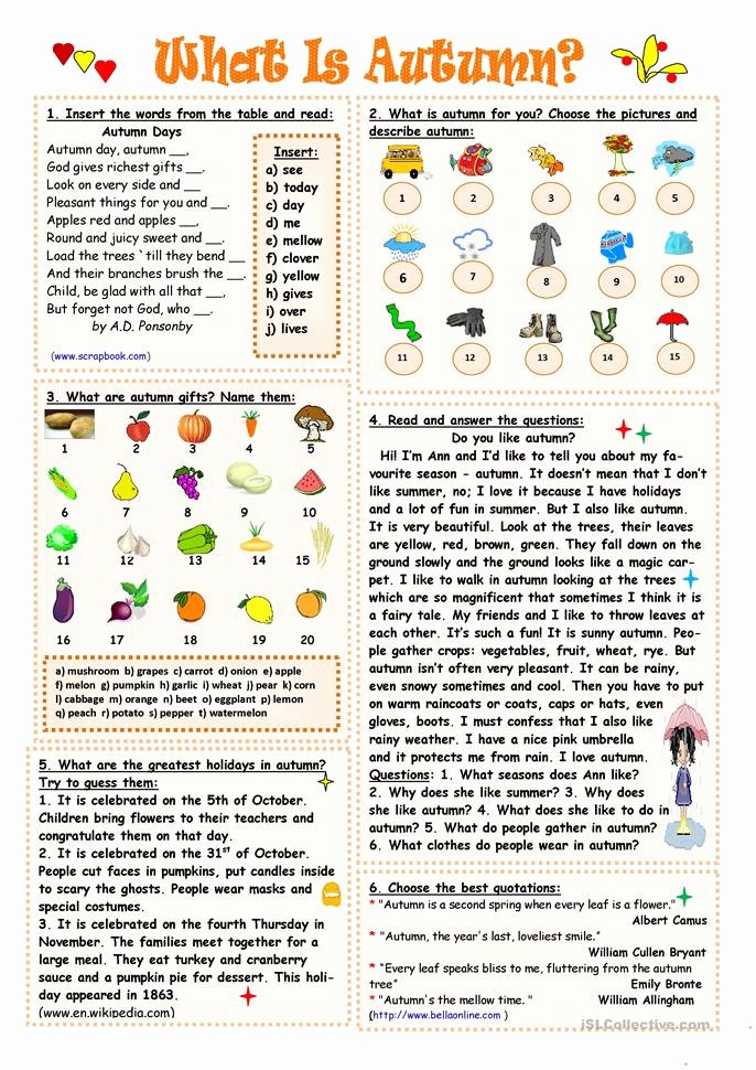 Free Fall Worksheet Answers Elegant What is Autumn Worksheet Free Esl Printable Worksheets