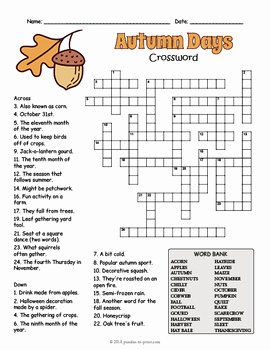 Free Fall Worksheet Answers Fresh Fall Crossword Puzzle Worksheet 4 Versions by Puzzles to
