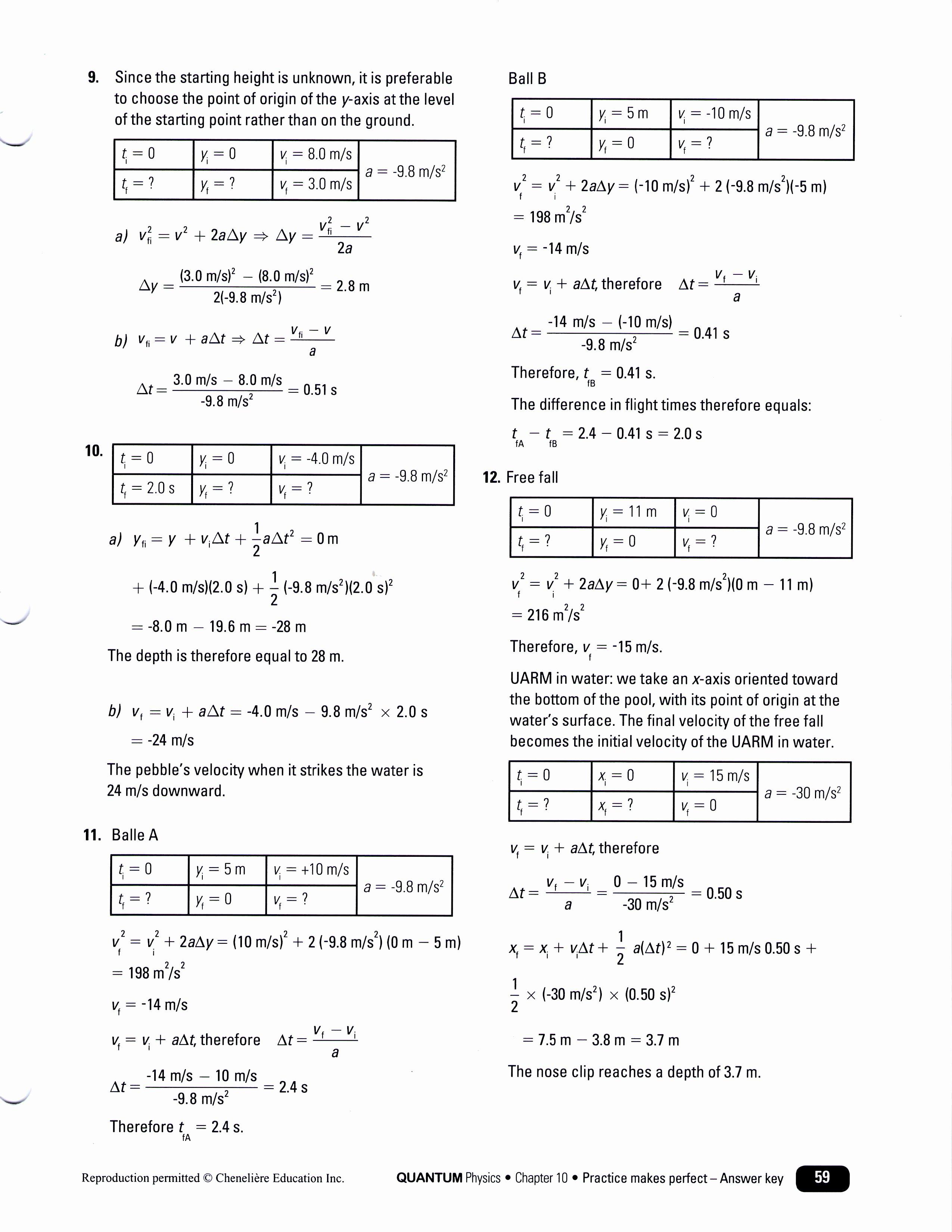 Free Fall Worksheet Answers Fresh Q 9 12