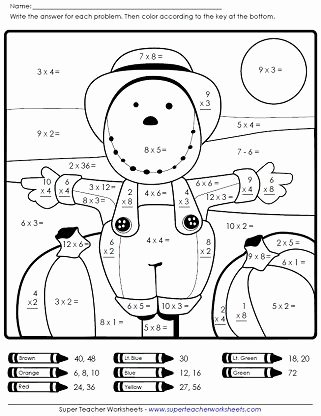 Free Fall Worksheet Answers Lovely Autumn Scarecrow Math Worksheet On Super Teacher