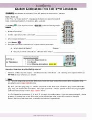 Free Fall Worksheet Answers New Free Fall tower Gizmo Student Exploration Free Fall