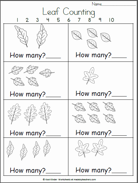 Free Fall Worksheet Answers New How Many Fall Leaves Kindergarten Math Madebyteachers