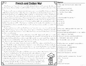 French and Indian War Worksheet Awesome French & Indian War Differentiated Reading Passages