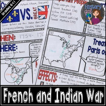French and Indian War Worksheet Awesome French and Indian War Doodle Notes by History Gal