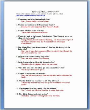 French and Indian War Worksheet Best Of Indian Captive Primary source Worksheet French and Indian