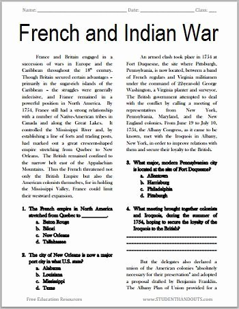 French and Indian War Worksheet Fresh the French and Indian War Free Printable American