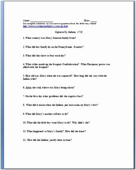 French and Indian War Worksheet Lovely Indian Captive Primary source Worksheet French and Indian