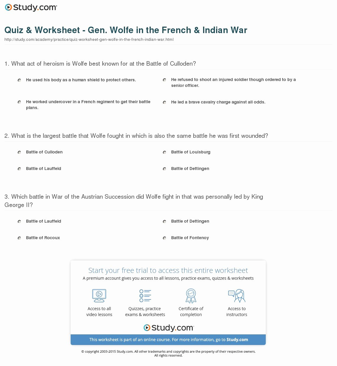 French and Indian War Worksheet Luxury Quiz & Worksheet Gen Wolfe In the French & Indian War