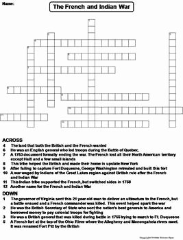 French and Indian War Worksheet Luxury the French and Indian War Worksheet Crossword Puzzle