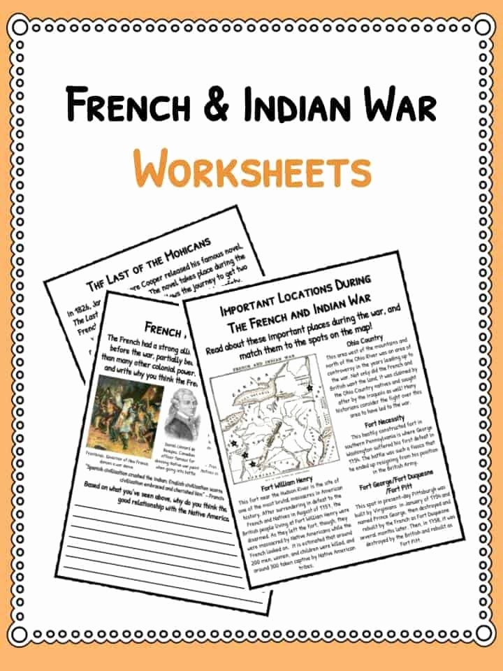 French and Indian War Worksheet New French & Indian War Facts & Worksheets for Kids Seven