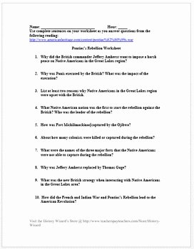 French and Indian War Worksheet New Pontiac S Rebellion Worksheet French and Indian War by