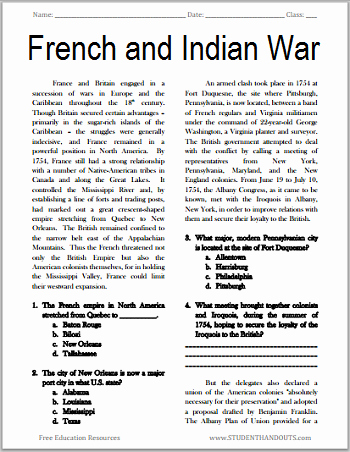 French and Indian War Worksheet Unique the French and Indian War