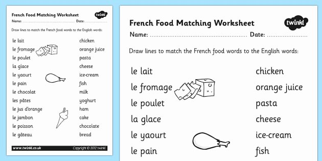 French Worksheet for Kids Awesome French Food Matching Words Worksheet French Food Match