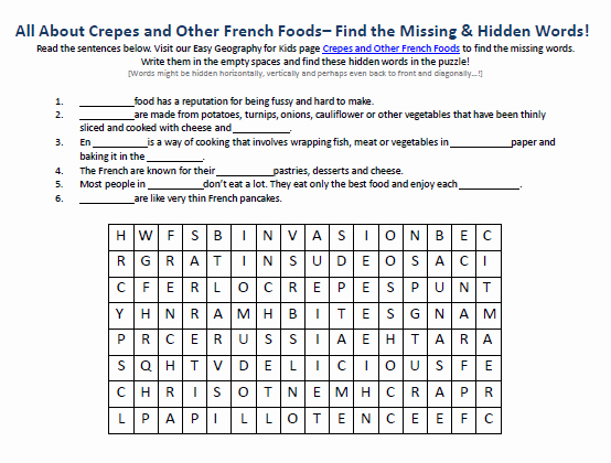 French Worksheet for Kids Fresh Image Of Crepes and Other French Foods Worksheet Free