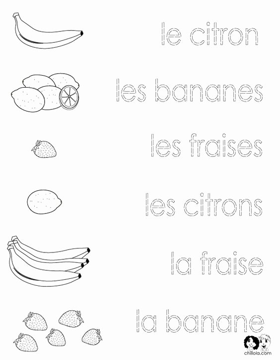 French Worksheet for Kids Luxury French Printouts for Children Fruit