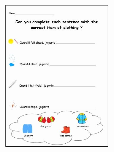 French Worksheet for Kids New French Worksheet Kids Learning Sheet Clothes by