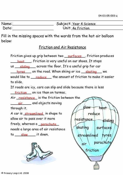 Friction and Gravity Worksheet Answers Fresh Friction and Air Resistance