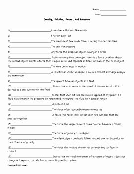 Friction and Gravity Worksheet Answers Lovely Gravity Friction forces and Pressure Quiz or Worksheet