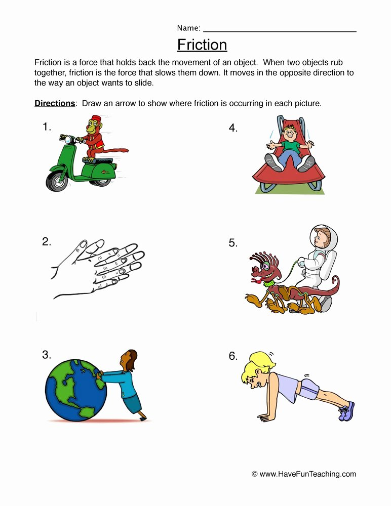 Friction and Gravity Worksheet Answers Luxury force and Motion Worksheets