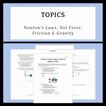 Friction and Gravity Worksheet Awesome forces Friction Gravity Inertia & Newton S Laws